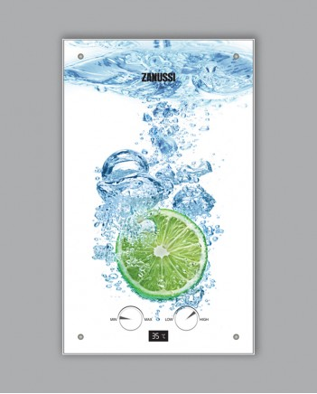 ГАЗОВА КОЛОНКА ZANUSSI GWH 10 FONTE Glass Lime